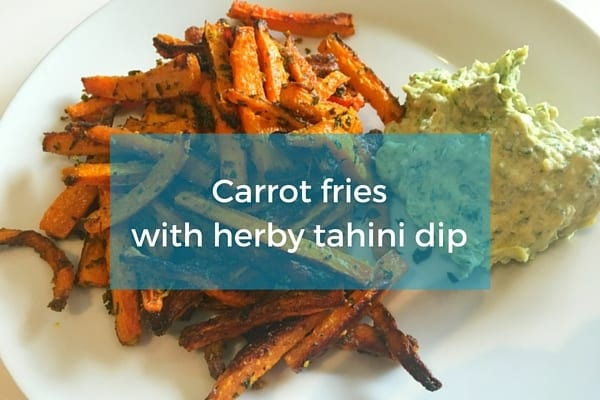 Carrot fries tahini dip